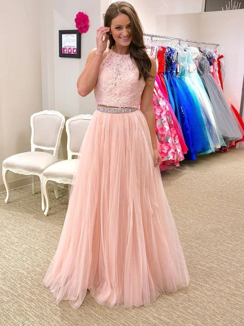 1cdf05536f 2018 Fashion Two Pieces Halter Pale Pink Lace Long Evening Prom Dresses