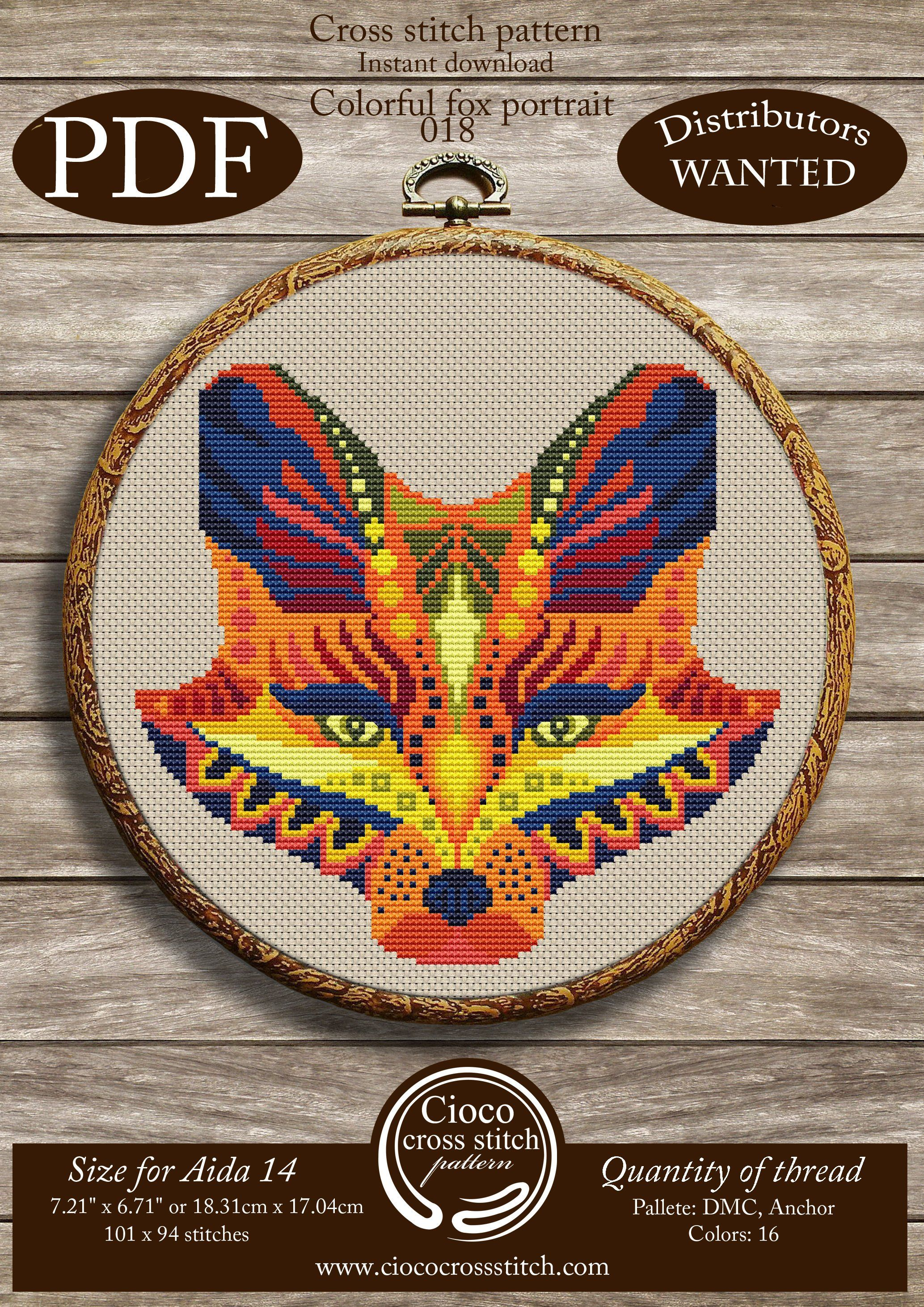 Fox portrait cross stitch pattern. Instant download