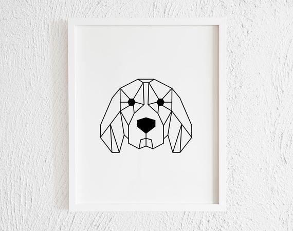 Photo of Geometric Beagle Face Print. Minimalist Beagle Origami Decor Art. Family Gallery Wall. Dog Pet lover Gift Idea. Living Room. Digital Print