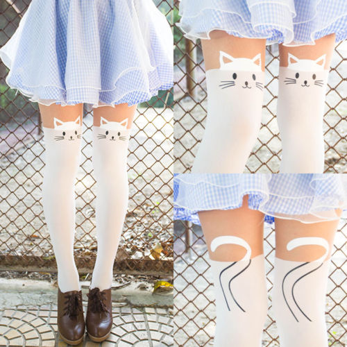 Cute Kitten Cat Print Thigh-Highs White Long Socks Pantyhose Hold-ups Stockings | eBay