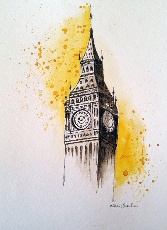 Original Big Ben Watercolor Travel By Nikspaintgallery On Etsy