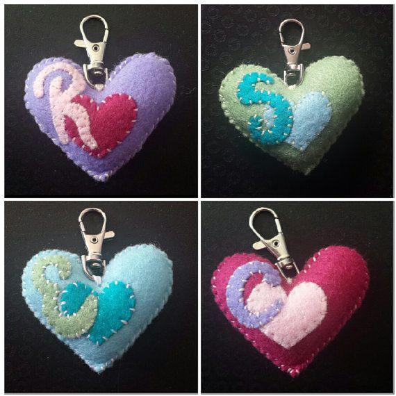 Handmade Felt Letter Heart Keyring