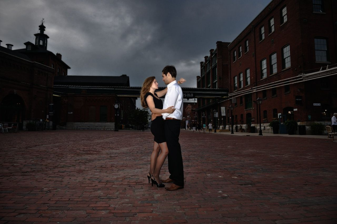 Engagement session at the Distillery District in Toronto, Canada.