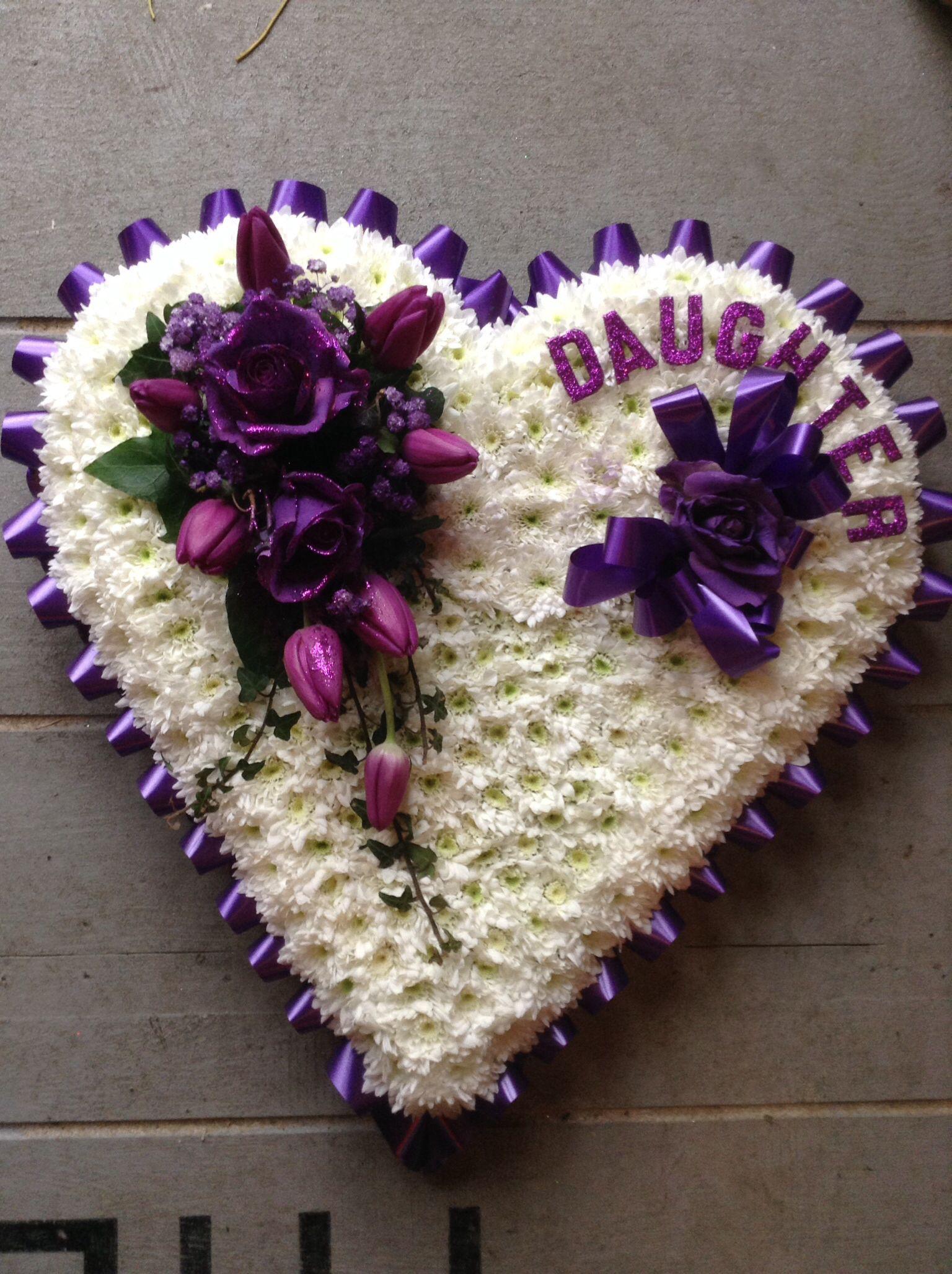 Heart Funeral Flower Tribute Cadbury Purple Flowers Daughter