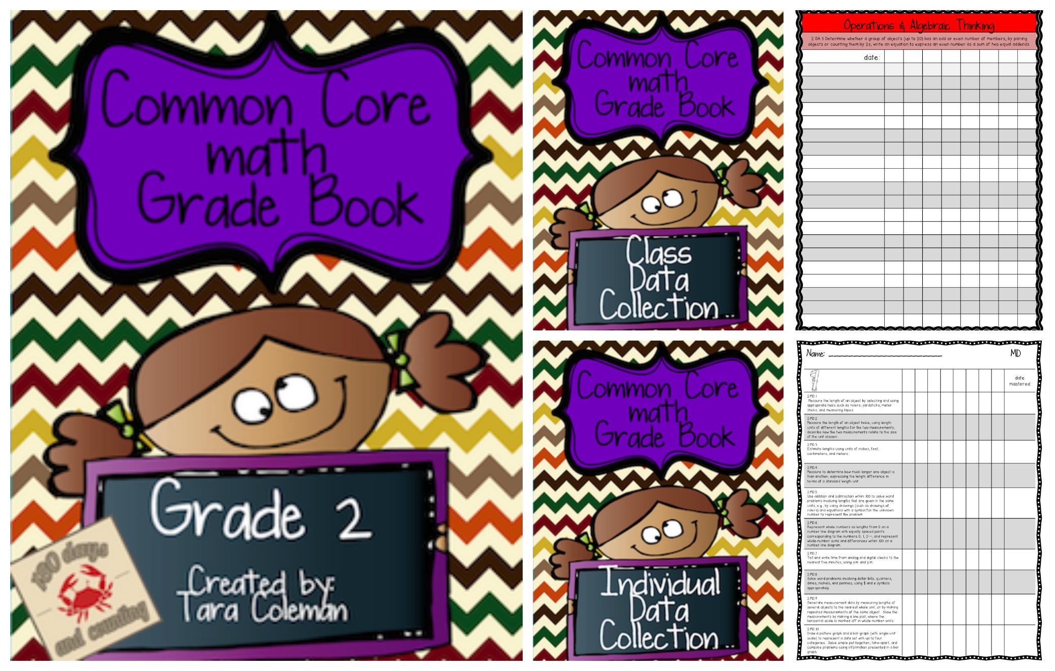 2nd Grade Common Core MATH Grade Book   Math, Common cores and Data ...
