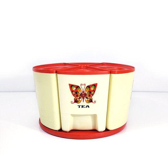 Vintage Sterilite Butterfly Canister Set Vintage