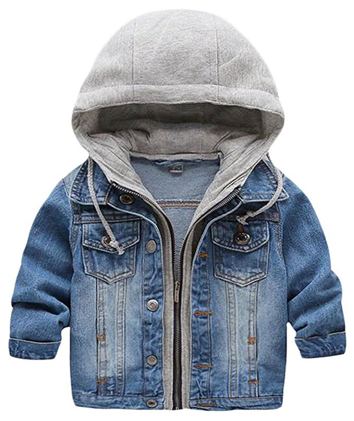 5de613de3f01 Kid Baby Boys Hooded Lapel Zipper Pocket Denim Jackets Coats ...