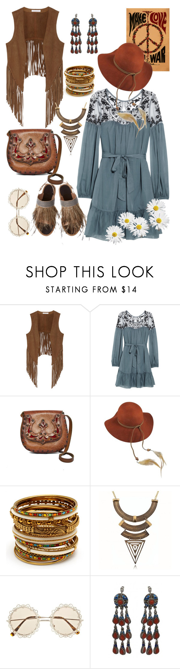 """Hippie waistcoat"" by fatange ❤ liked on Polyvore featuring W118 by Walter Baker, Temperley London, Lovely Bird, Amrita Singh, River Island and Clips"