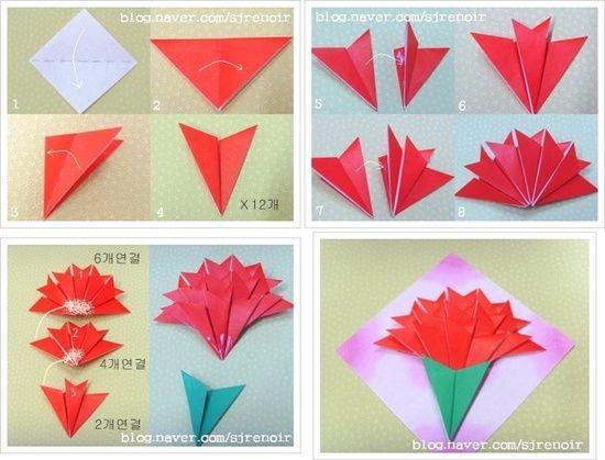 Origami Carnation Flower Origami Flowers Tutorial Easy Origami Flower Origami Flowers