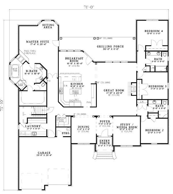 Best Floor Plan Ever The Only Thing I Would Change Is To Make The Computer Area Into More Storage Decorat House Plans And More House Floor Plans How To Plan