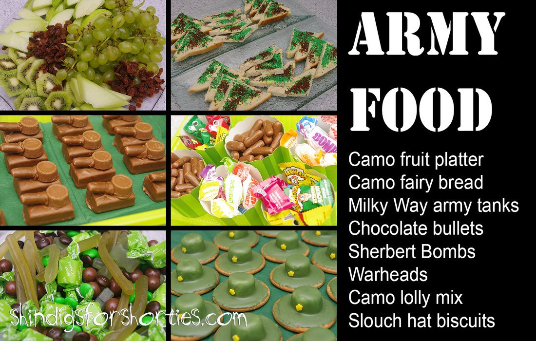 Army party army theme party food mini army tanks for Army party decoration