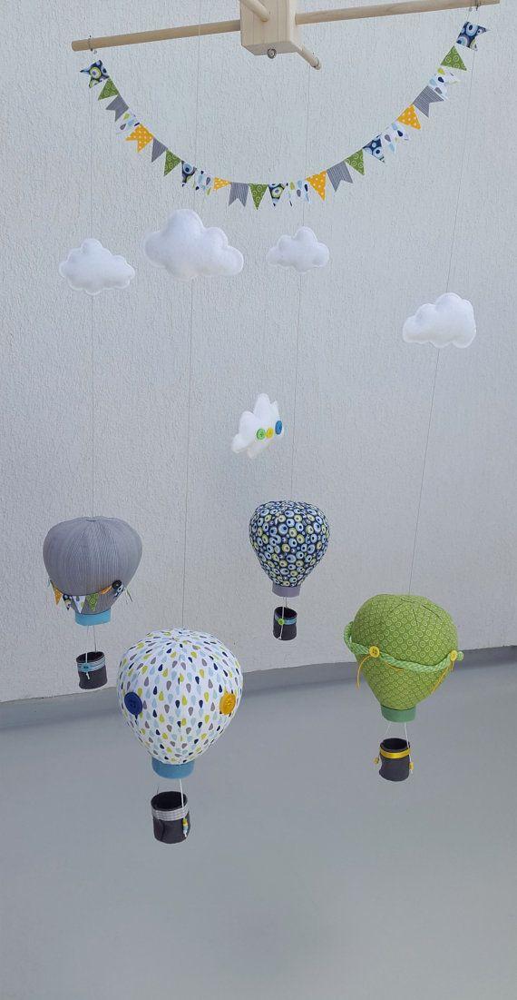 Hot Air Balloon Mobile Fabric Felt Balloons Nursery Décor For Boys Travel And Explore Theme Ceiling