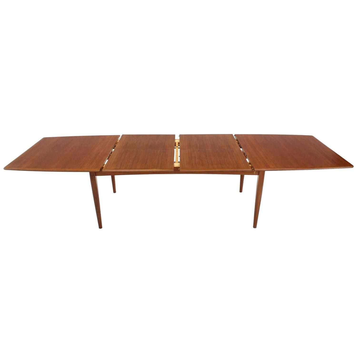Large Danish Mid Century Modern Teak Dining Table With Two Pop Up