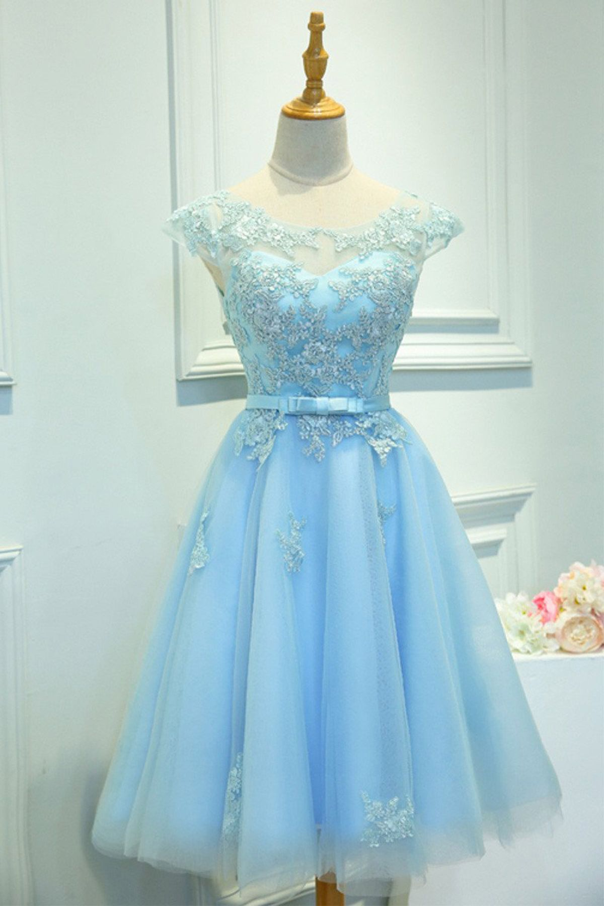 Cute ice blue lace short prom dress with bow short homecoming dress