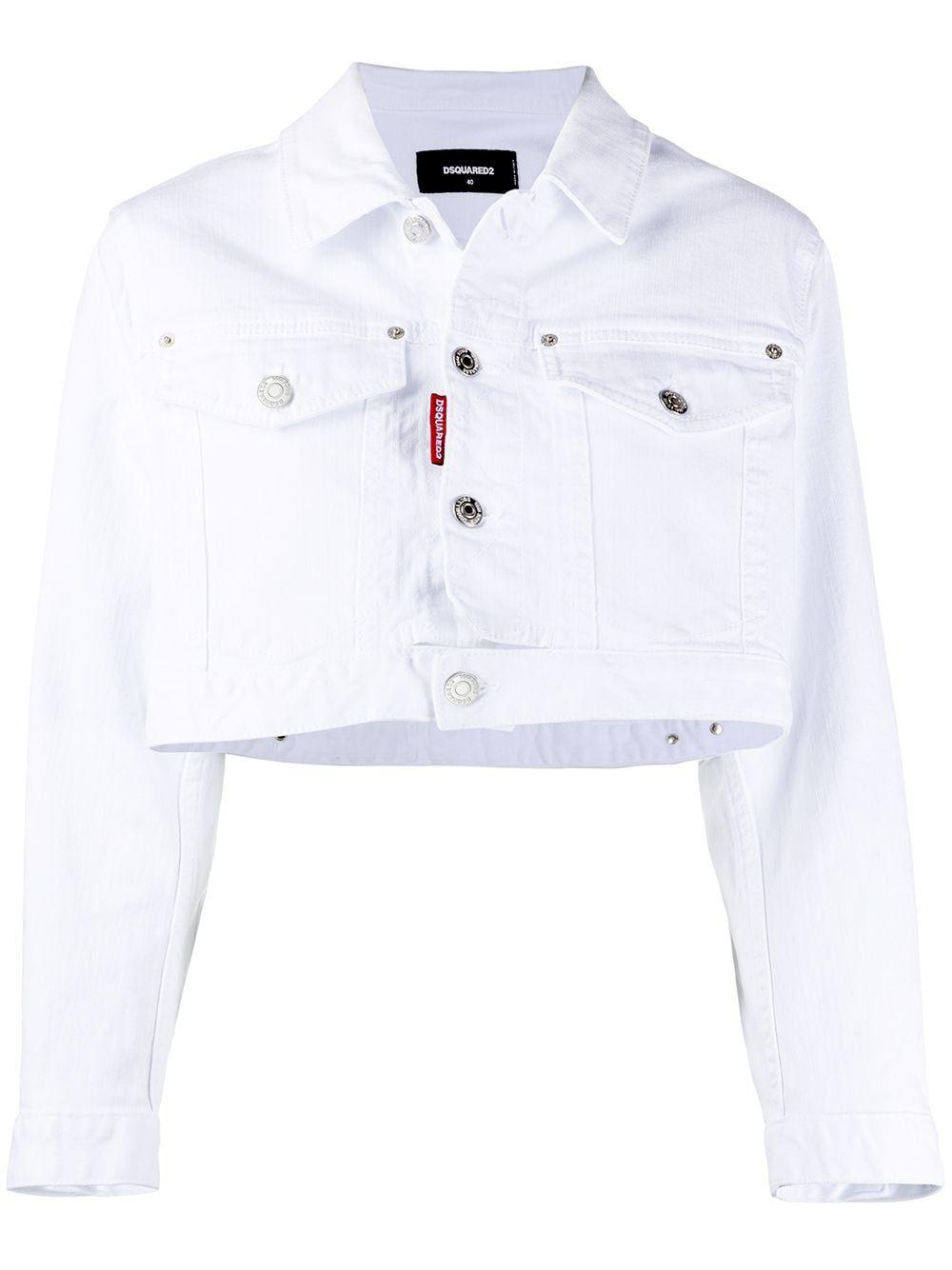 Dsquared2 Icon Cropped Denim Jacket Farfetch Cropped Denim Jacket Denim Jacket Men White Denim Jacket [ 1334 x 1000 Pixel ]