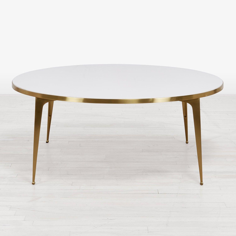 kate spade new york Marble Coffee Table White Brass Floor Sample