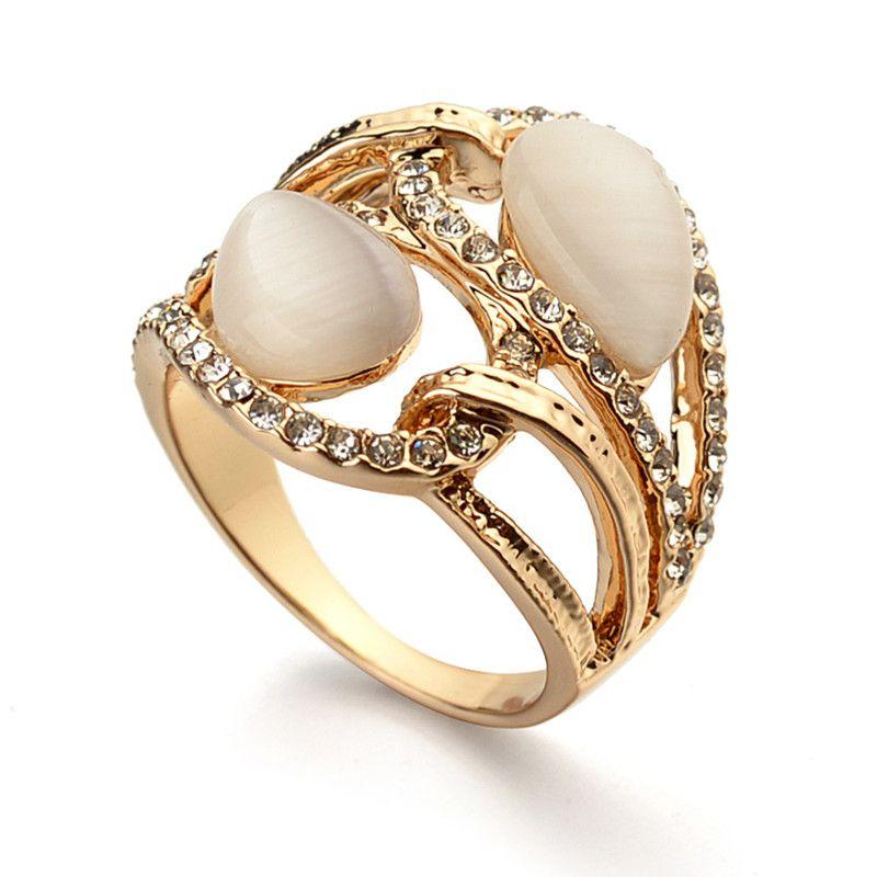 Italina-New-Design-Vintage-Gold-Ring-White-Semi-Precious-Stone ...