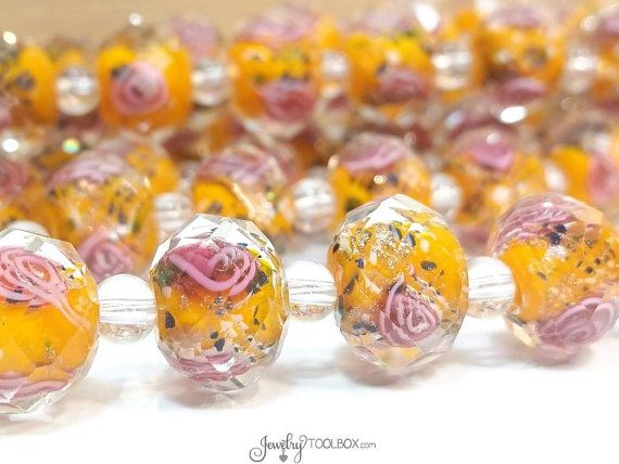 Orange Crystal Beads, Crystal Flower Inside Beads, Faceted Crystal Rondelles, Rose Flower Inside Beads, 11x9mm, Hole 2mm, Lot Size 6 to 14