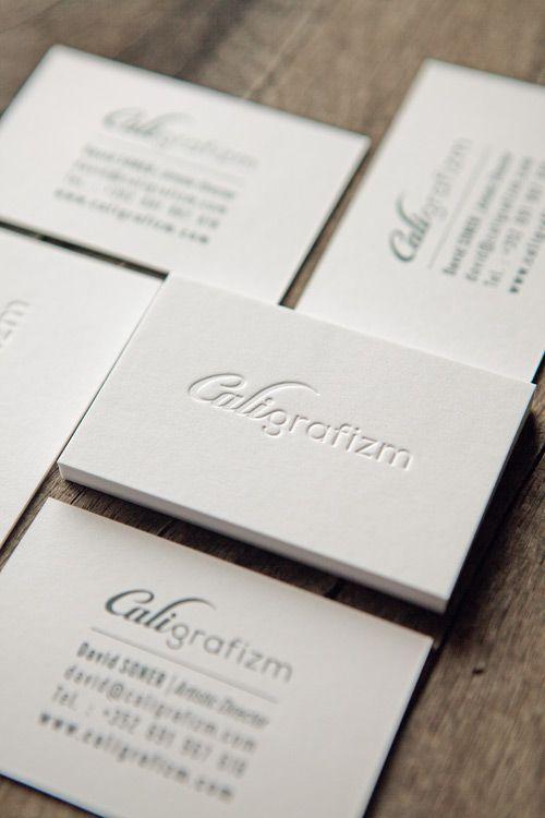 Carte de visite Caligrafizm recto verso sur papier Gmund Cotton - letterpress business card