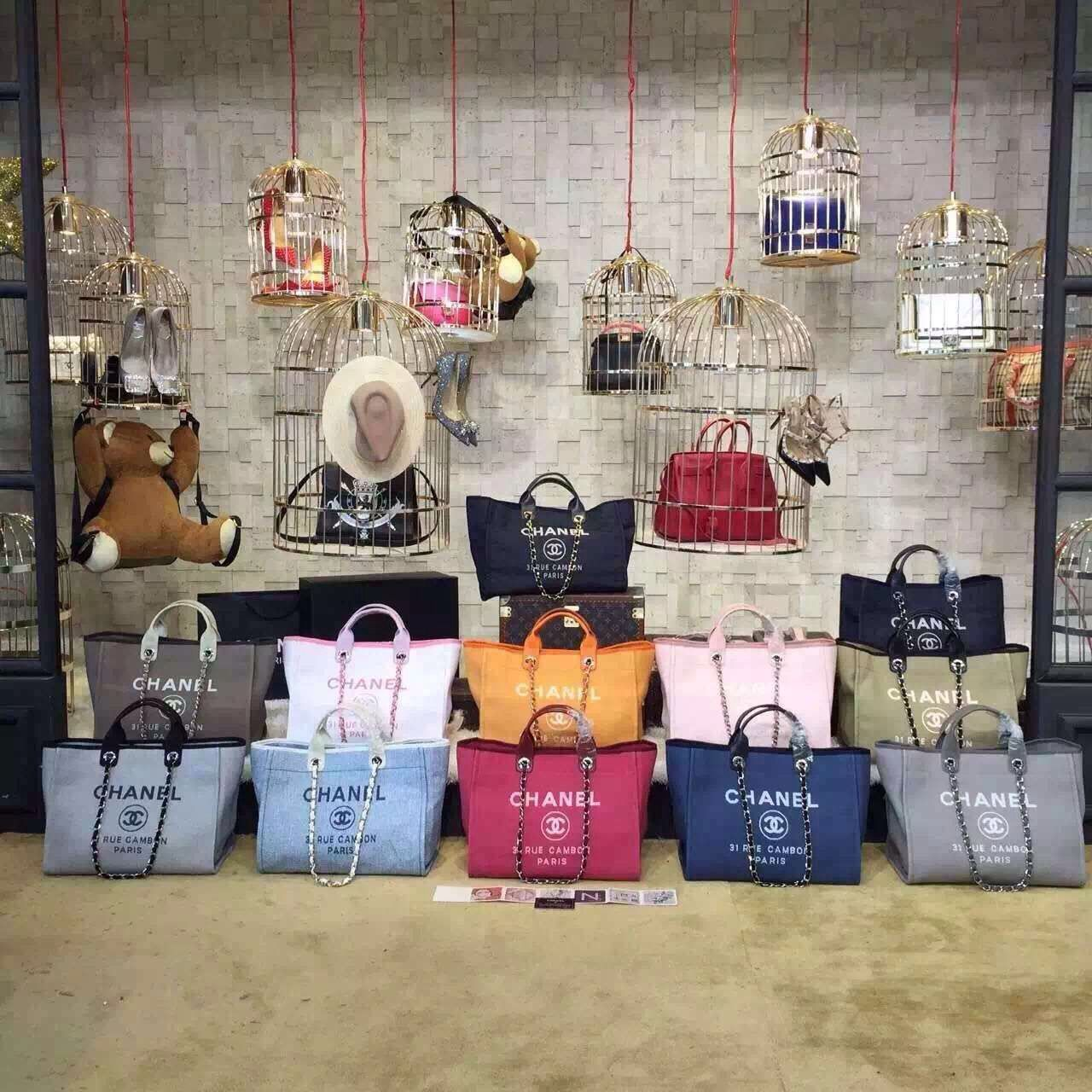 c33bb984fc46 Chanel Toile Deauville Canvas Shopping Tote Bag 2015-2016 Collection ...