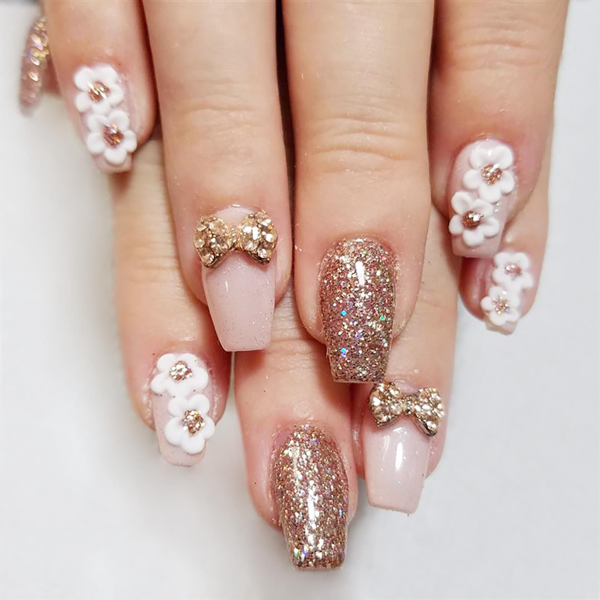 Acrylic Fill Hands 35 3d Bows And Flowers Are Additional Cost Elegant Nail Art Nail Art Nails