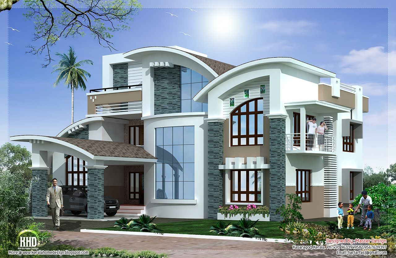 Mix luxury home design kerala home design architecture for Kerala houses designs