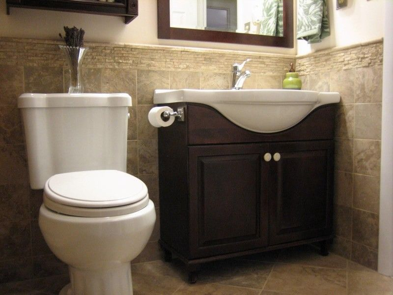 half bathroom tile ideas half tiled wall home design ideas pictures remodel and decor half. Black Bedroom Furniture Sets. Home Design Ideas
