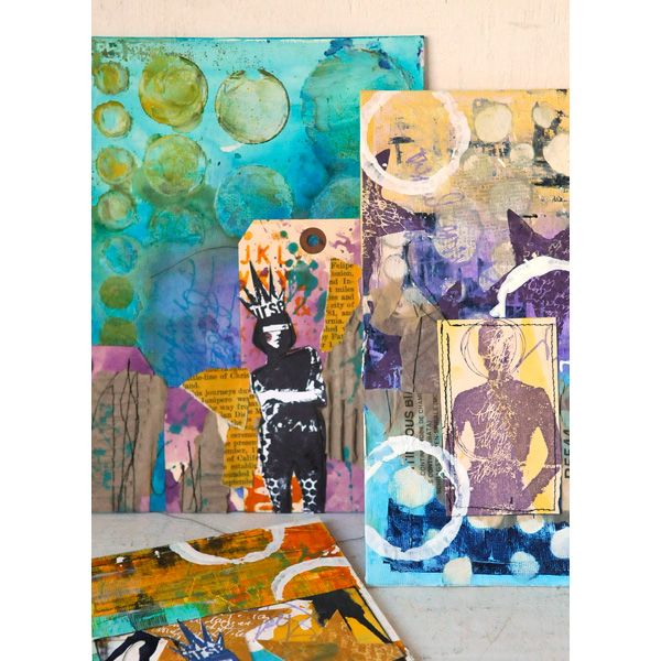 canvases are a mixture of painting, stamping, gluing and layering element. Paint background with acrylic, stamp directly on canvas or stamp onto paper first.  Add additional elements, spray with colour washes and inks