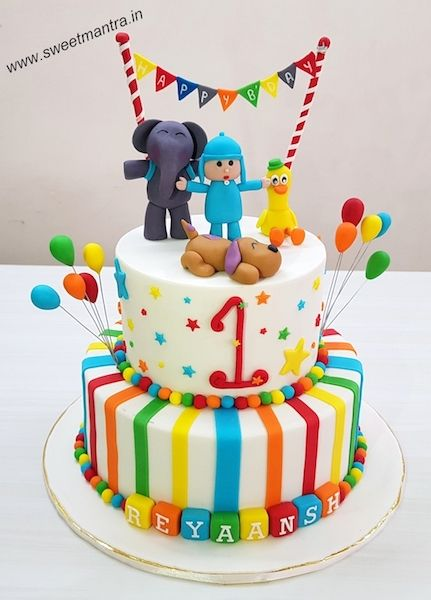 Cartoon Characters Theme Customized 2 Layer Colorful Designer Fondant Cake With Birthday Banner For Boys 1st At Pune