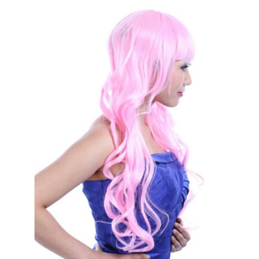Details About 60cm Long Curly Front Lace Cosplay Party One Piece Hair Cap Wig Pink Hair Pieces Cap Hair Long Curly