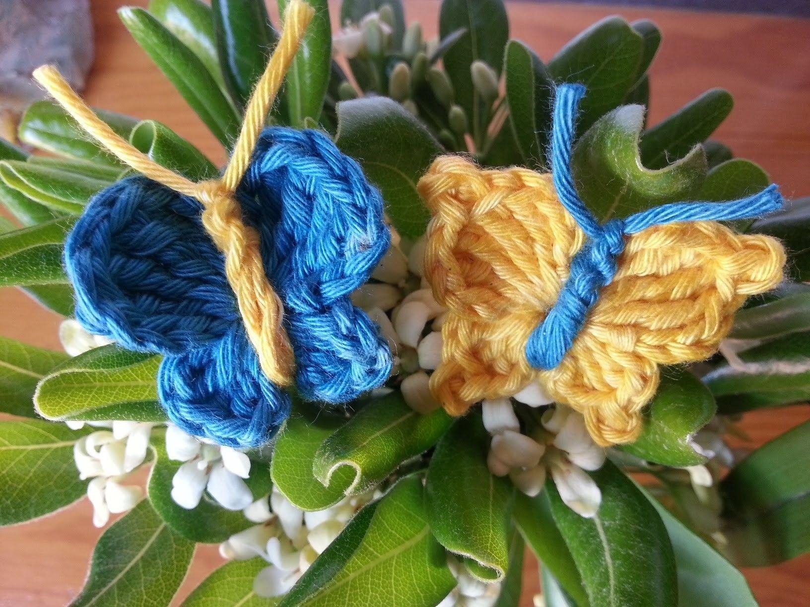 Tutorial mariposa básica dos modelos crochet.ganchillo | Mariposas ...