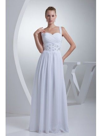 c38531e79e Pleated Sequins Long Chiffon White Wedding Dress with Straps  OP4418 ...