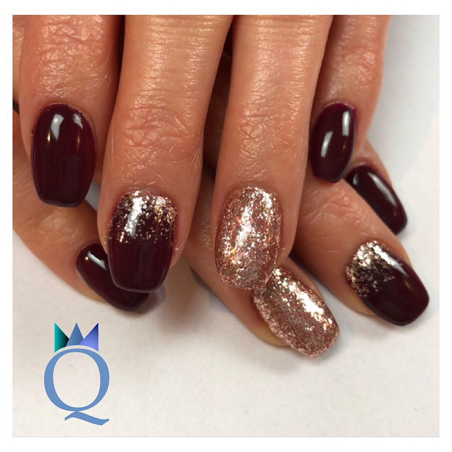 #gelnails #nails #darkred #red #rosegold #gelnägel #nägel