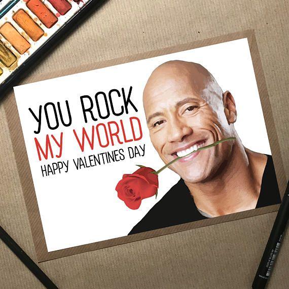 Dwayne Johnson Dwayne Johnson Card Valentines Card The Rock The