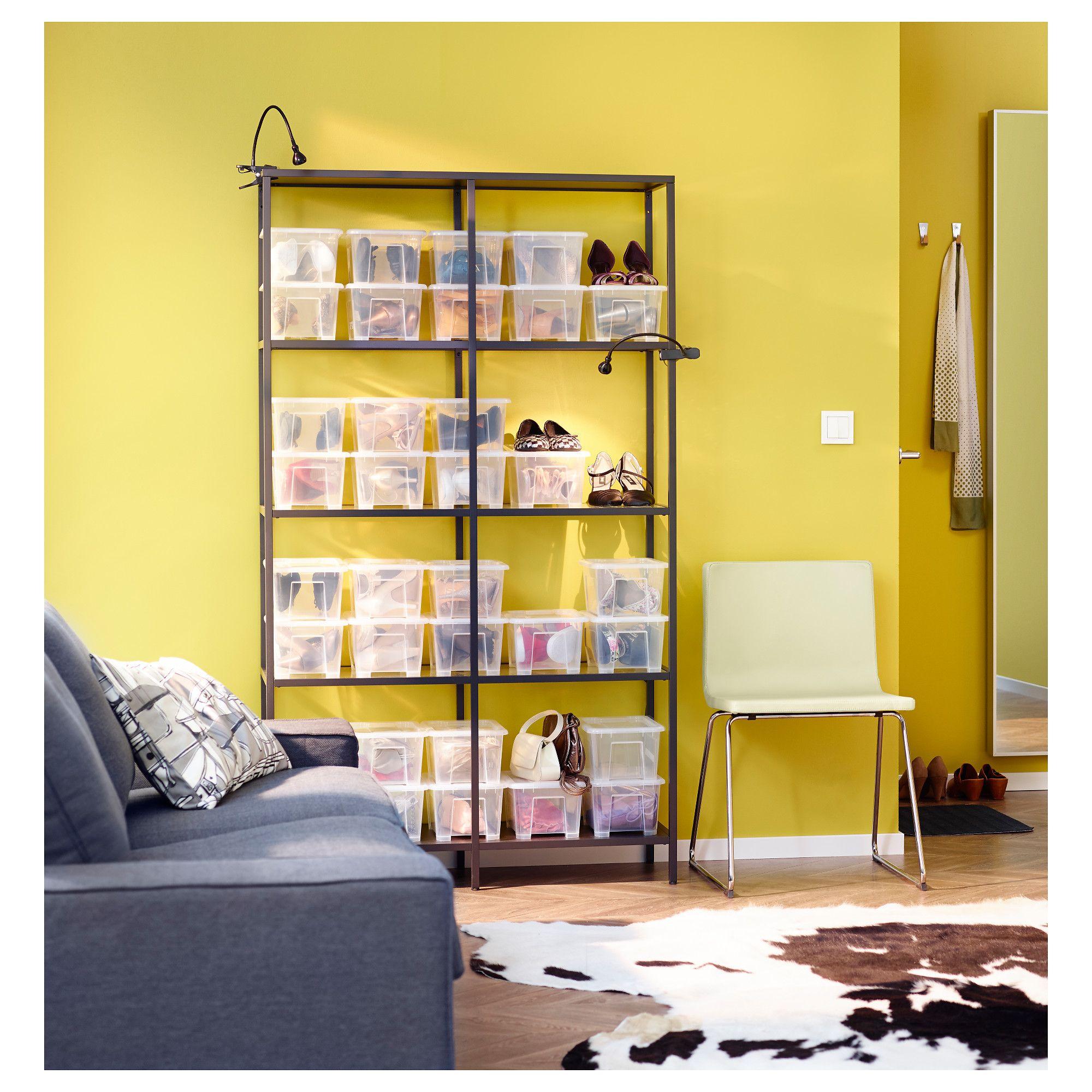 VITTSJÖ Shelf unit, black-brown, glass | Shelves, Brown and Glass