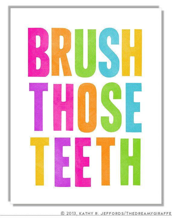 Bathroom Signs Brush Your Teeth brush those teeth art print, cute brush your teeth reminder art