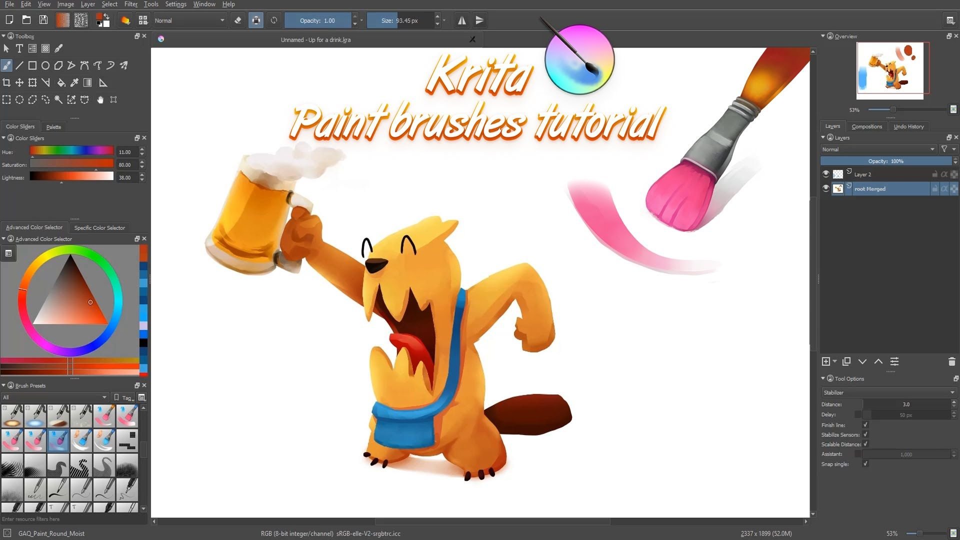 Krita Brushes Tutorial How To Use The Color Mixing Brushes Youtube