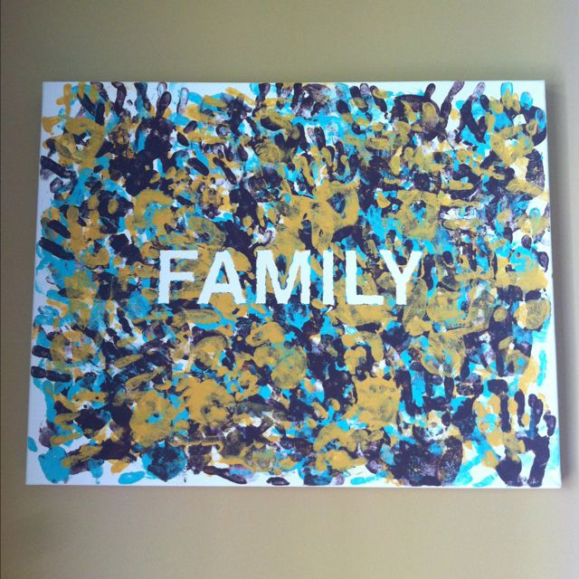 Hand print wall canvas with family handprints - tape first ...