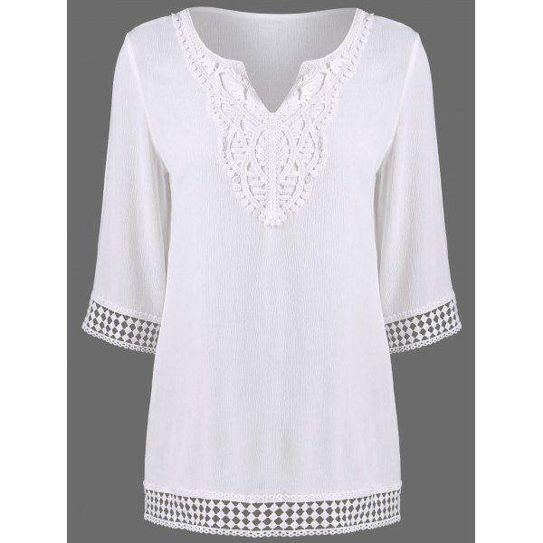 Split-Neck Crochet Trim Crinkle Blouse, WHITE, M in Blouses | DressLily.com