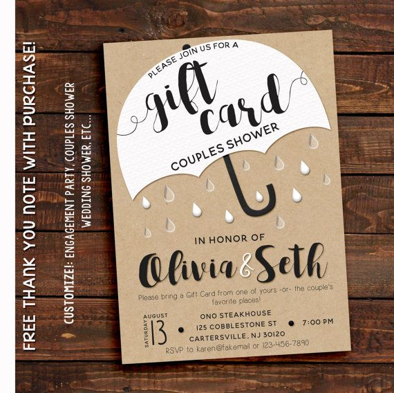 Wedding Invitation Gifts Ideas: Gift Card Shower Invitation In 2019