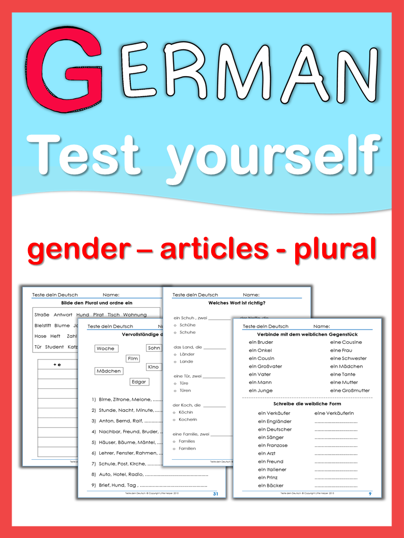 German Test Yourself gender, articles, plural | Pinterest | Early ...