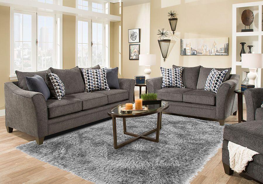 Best Jada Blue Chenille Sofa Loveseat Charcoal Living Rooms 640 x 480