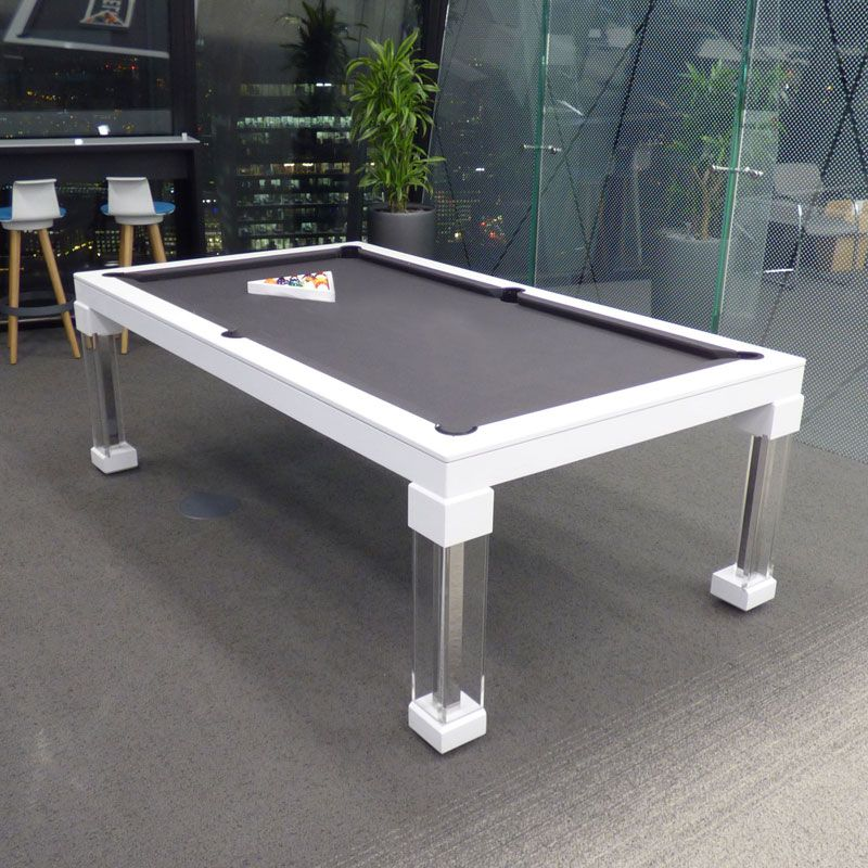 A English Contemporary Pool Table In Oak E Colour Finish With - Black modern pool table