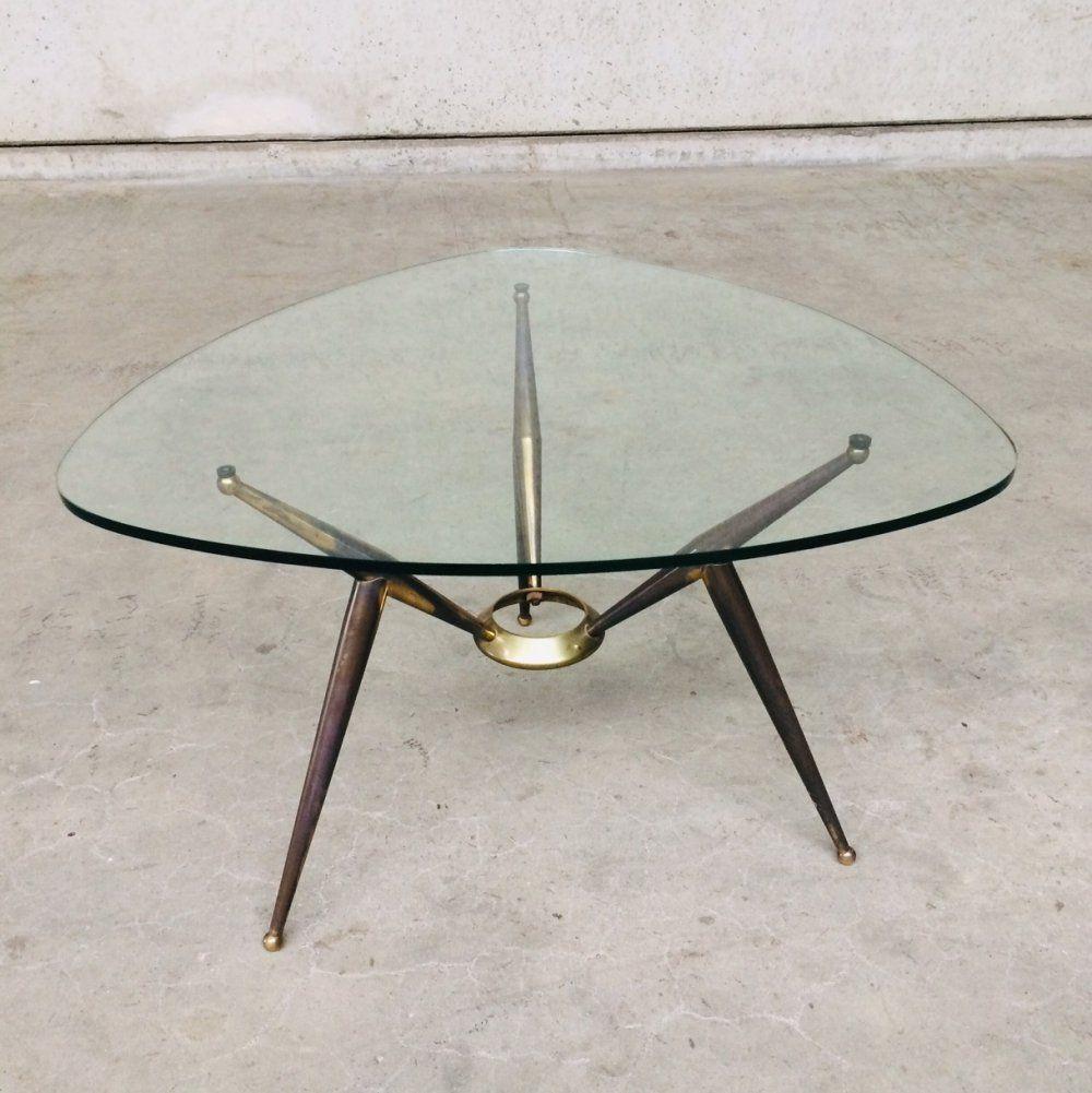 For Sale Italian Design Brass Glass Triangular Coffee Table 1950 S Coffee Table Table Italian Design [ 1001 x 1000 Pixel ]