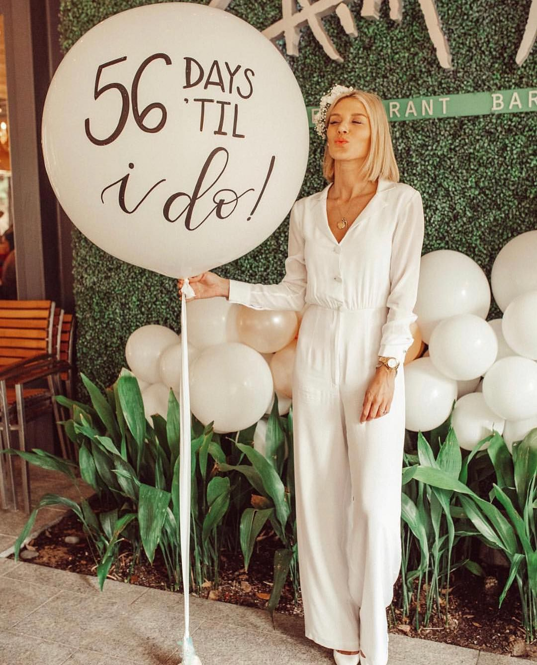 "PARTY WITH LUSHRA on Instagram: ""56 days 'til 'I do' � & how gorgeous is this bride-to-be?! �� #partywithlushra • • • • Custom calligraphy balloon: $45 """