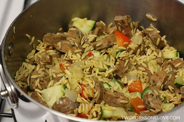 Risotto-Style Orzo with Vegetables and Chicken Sausage