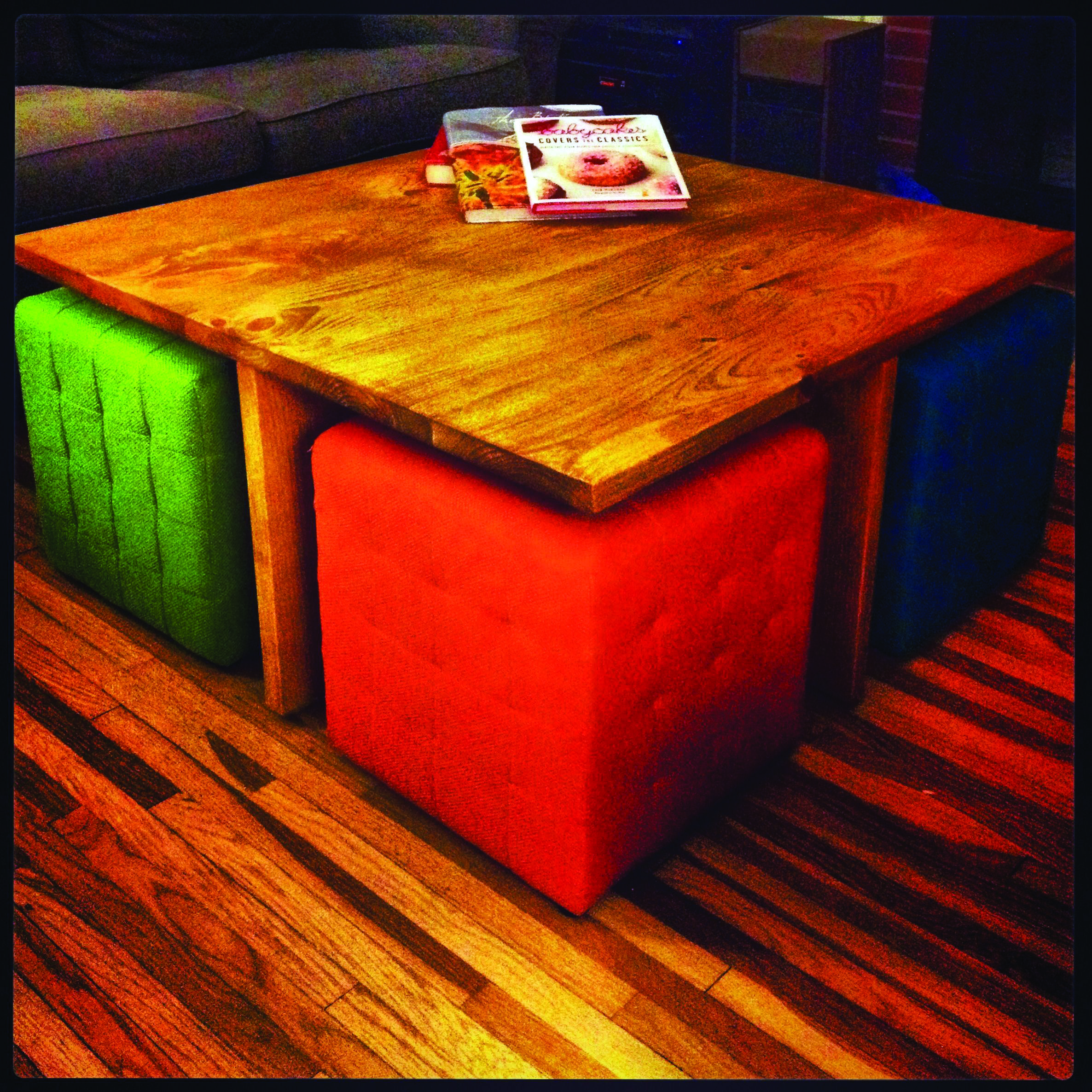 How To Transform Your Outdated Coffee Desk Into A Sophisticated Ottoman Dova Home Coffee Table With Seating Coffee Table Square Diy Coffee Table [ 2372 x 2372 Pixel ]