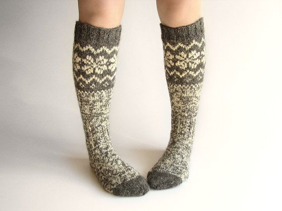 Knee Socks EU size 37-38.5 High Hand Knitted Patterned by milleta ...