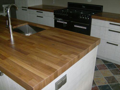 Massief iroko keukenblad op maat keuken butcher