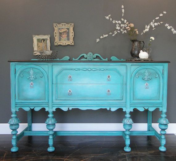 Sold Antique Buffet Sideboard Entry Table Aqua Teal